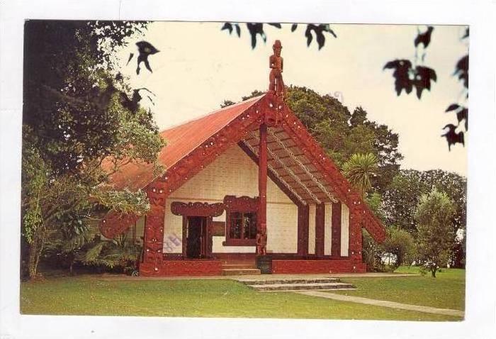 Waitangi. Maori Meeting House, Bay of Islands, New Zealand, 60-70s