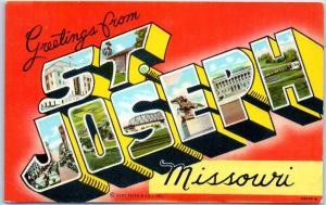 ST. JOSEPH Missouri Large Letter Postcard Colorful Curteich Linen c1940s