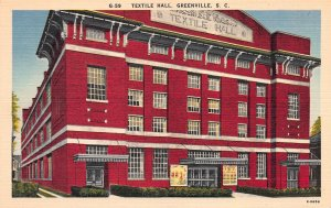 Textile Hall, Greenville, South Carolina, Early Linen Postcard, Unused