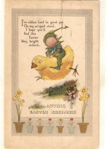 Gnome flying in chick. Flowers Tuck Easter Greetings Ser. PC # 1015