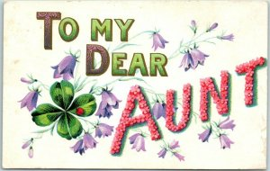 Vintage Large Letter Greetings Embossed Postcard TO MY DEAR AUNT Flowers c1910s
