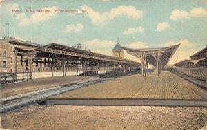 Wilmington Delaware view on street Penn. Railroad Station antique pc DD3186