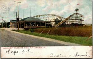 Indianapolis Indiana~Riverside Amusement Park~Roller Coaster~Car on Uphill~1906