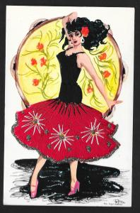 Dancing Spanish Lady Dress Real Embroidery Unused c1963
