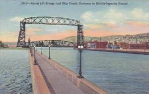 Minnesota Duluth Aerial Lift Bridge And Ship Canal Entrance To Duluth Superio...