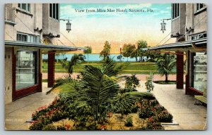 Sarasota Florida~View from Mira Mar Hotel~Courtyard Windows~Garden~1924 Postcard