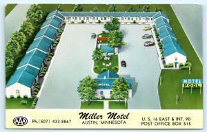 Postcard MN Austin Miller Motel Vintage L12