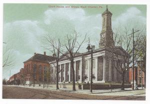 West Chester PA Court House and Annex Biehn Bicentennial 4X6 Repro Postcard 1999