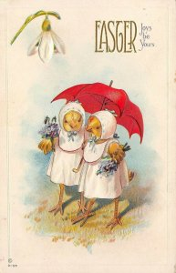 LP65 Easter  Postcard Dressed chicks Umbrella Fantasy