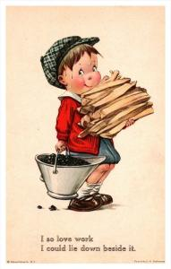 20012  Little boy, Firewood and coal, signed Twelvetrees