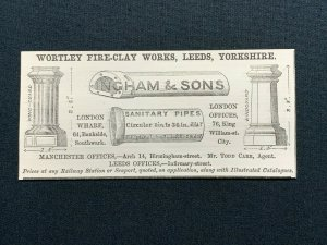 1862 Advert, Ingham & Sons, Wortley Fire-Clay Works Leeds, Sanitary Pipes