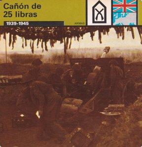 FICHA ARMAS: CAÑON DE 25 LIBRAS. 1939-1945