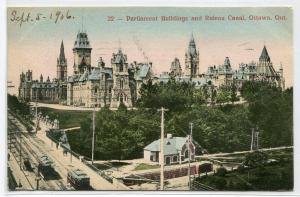 Parliament Building Rideau Canal Ottawa Canada 1906 postcard