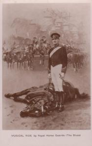 Killed Horse In Battle Musical Ride Royal Guards Antique Military Postcard