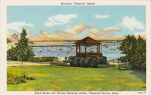 Massachusetts Cape Cod Vineyard Haven Band Stand and Harbor Showing Jetties C...