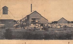 Perry Oklahoma~Cotton Gin~Buildings~Workers~Wagons~1908 Sepia Postcard