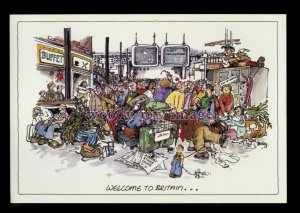BE209 - Destination Terminal - Welcome to Britain!! - Large Besley Comic P'card