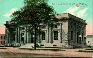 Vtg Carte Postale 1911 Evanston Bureau de Poste Bâtiment Illinois S. H. Knox BAR