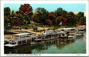 Lake Taneycomo, Missouri Postcard BRANSON BOAT LANDING Steamers c1930s Unused