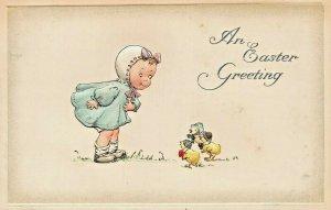 AN EASTER GREETING~GOTTSCHALK DREYFUSS EMBOSSED 1914 POSTCARD