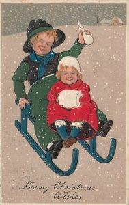 CHRISTMAS, PU-1916; Children in snow fall sledding, hand muff, PFB 6211