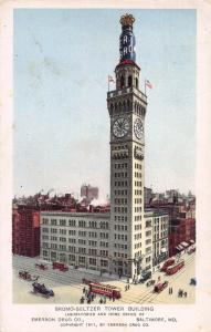 Bromo-Seltzer Tower Building, Baltimore, Maryland, Early Postcard, Unused