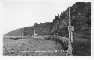 Quebec~Route 6 Curve along Gaspe Coast~near Mont-Albert~Road Sign~Vintage RPPC