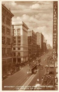 RPPC Broadway From 8th Street LOS ANGELES California Music Co Vintage Postcard