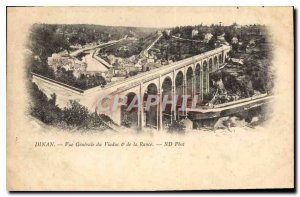 Old Postcard Dinan general view of the Viaduct and the Rance