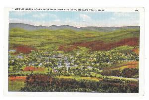 MA Mohawk Trail View of North Adams Vntg Linen Postcard