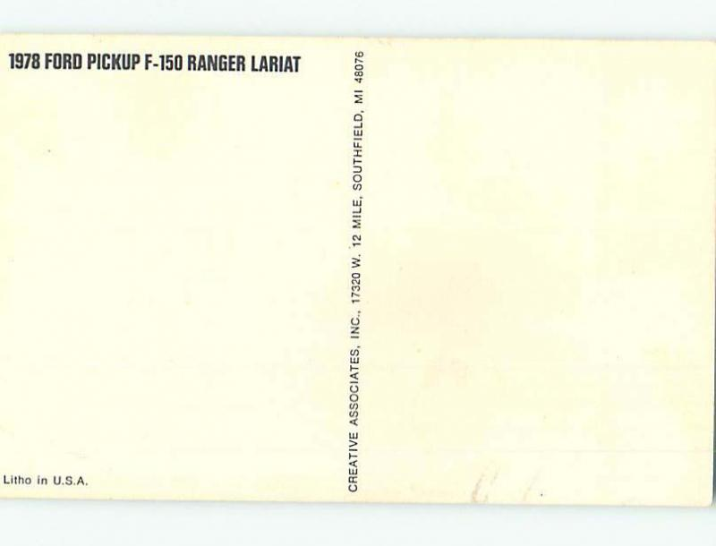 Unused 1978 car dealer ad postcard FORD PICKUP F-150 RANGER LARIAT o8503-12
