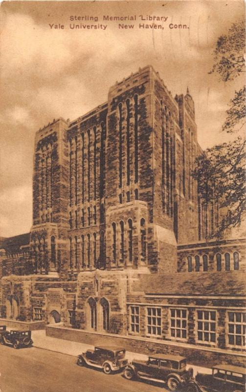 NEW HAVEN CONNECTICUT~STERLING MEMORIAL LIBRARY~YALE UNIV~SEPIA POSTCARD 1934