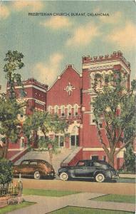Durant Oklahoma~Presbyterian Church~Old Cars~1940's Linen~Postcard