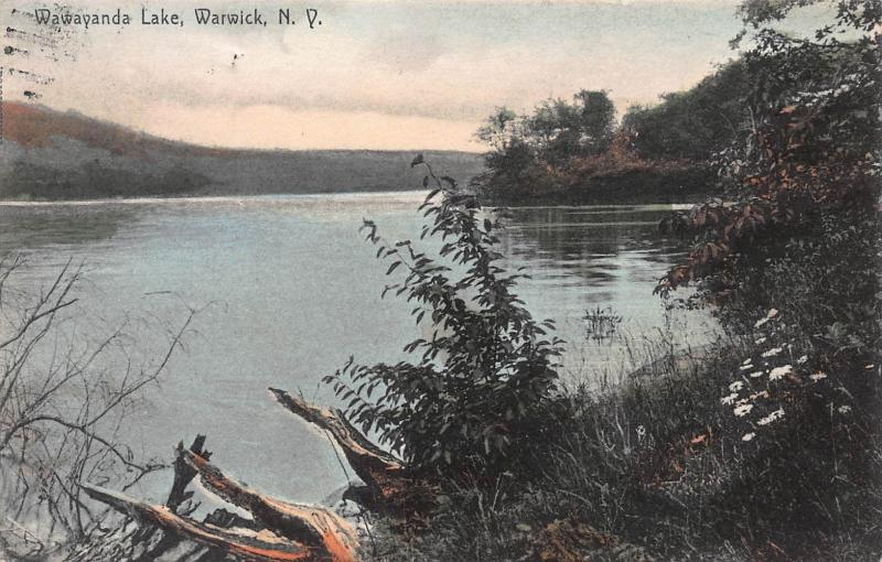 Wawayanda Lake, Warwick, New York, early hand colored postcard, used in 1908
