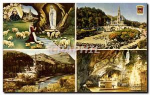 Modern Postcard Lourdes Basilica L & # 39Apparition and Cave