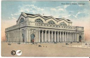 New Union Station Depot Chicago 1916 Vintage Postcard Railroad Train Station