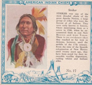 TC: RED MAN Chewing Tobacco Trade Card , 1890s ; American Indian Chiefs ; STR...