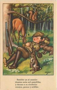 Artist impression 1950s Boy Hunter Nap Time Rabbit Rifle Deer Zsolt 12240
