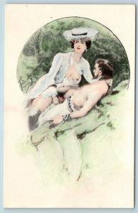 Postcard French Risque Man Woman Nude Cartoon Comic Together in Park 2Q16