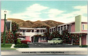 1950s VENTURA California Postcard VIKING MOTEL 2107 Thompson Blvd. Linen Unused