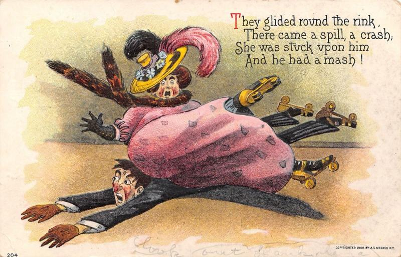 Comic Roller Rink Skate Mash~Fat Lady In Fur & Feathers~Falls Atop Man~Embossed