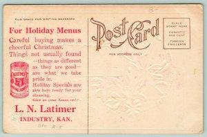 Industry Kansas~LN Latimer Grocery Store~Christmas Advertising~Calumet BP~c1910