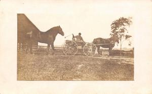 Real Photo Postcard~Farmer in Surrey~1 Horse Hitched~1 Follows~Barn~c1911 RPPC