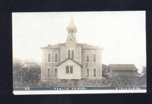 RPPC STELLA NEBRASKA PUBLIC SCHOOL BUILDING VINTAGE REAL PHOTO POSTCARD NEBR.