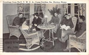 Camp Gordon Georgia~YWCA Hostess House~Group in Parlor~WWI Era~1920s Postcard
