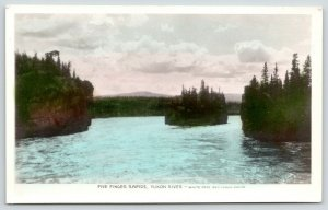 BC Canada~Five Finger Rapids~Yukon River~Colorize Real Photo Postcards~1910 RPPC