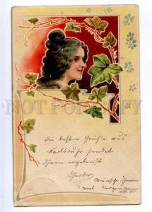 189568 ART NOUVEAU Nymph Female Head in Flowers Vintage PC