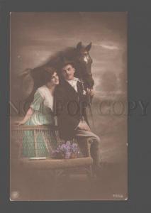 079529 Lovers w/ HORSE Vintage PHOTO Tinted NPG