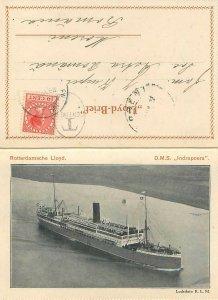 Bateau paquebot Indrapoera N V Rotterdam lloyd Luchtfoto K.L.M. correspondence