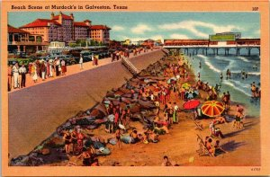 VTG Postcard Beach Scene Murdock's Galveston Texas Ocean View Linen 1482